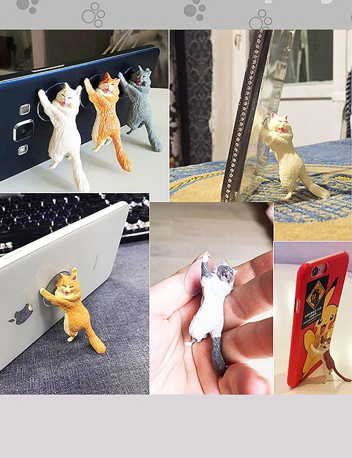 Yikes! Fun Suction Cup Cat Phone Holder. 6 Cute Crying Cats Calling You Now !! 3
