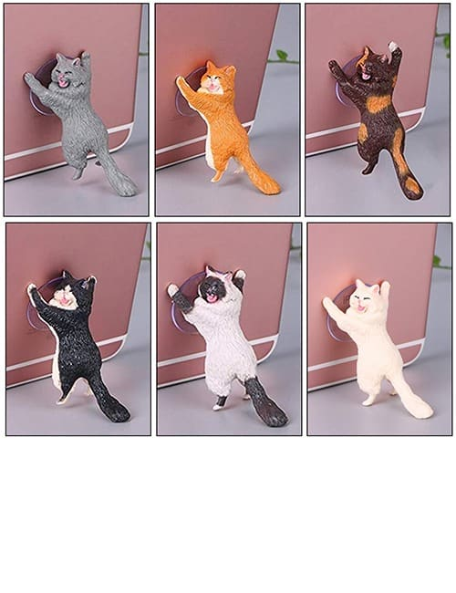 Yikes! Fun Suction Cup Cat Phone Holder. 6 Cute Crying Cats Calling You Now !! 4