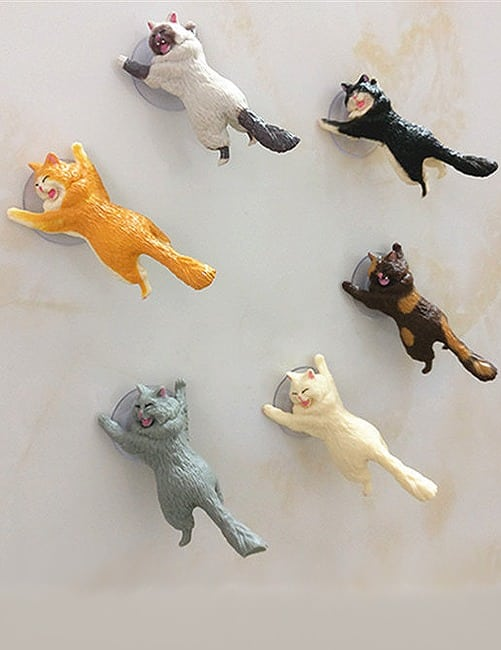Yikes! Fun Suction Cup Cat Phone Holder. 6 Cute Crying Cats Calling You Now !! 6