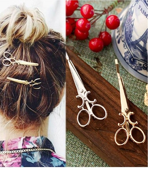 These 2 Adorable, French Antique Metal Scissors Hair Clips. The Essence of Gay Paree? 3